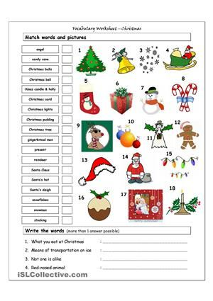 Vocabulary worksheet containing CHRISTMAS vocabulary. It has two sections: Match words and pictures (matching exercise) and Write the Words (reading and creative thinking exercise).  - ESL worksheets