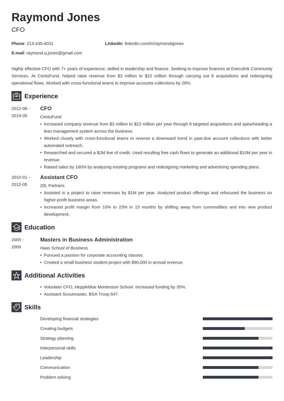 Cfo Resume Example Template Newcast Resume Examples Job Resume Examples Resume Template