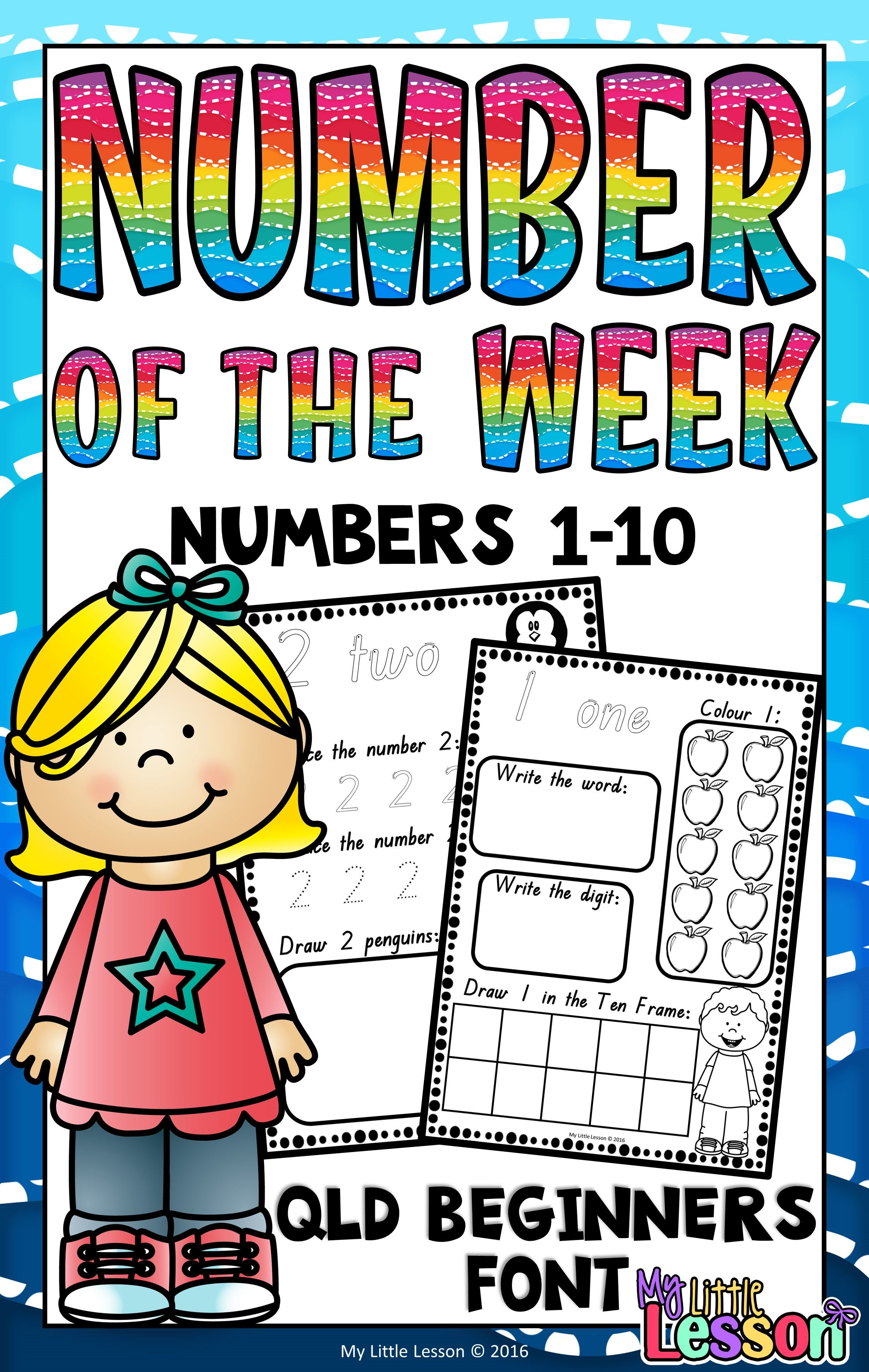 Numbers 1 10 Worksheets Qld Beginners Font