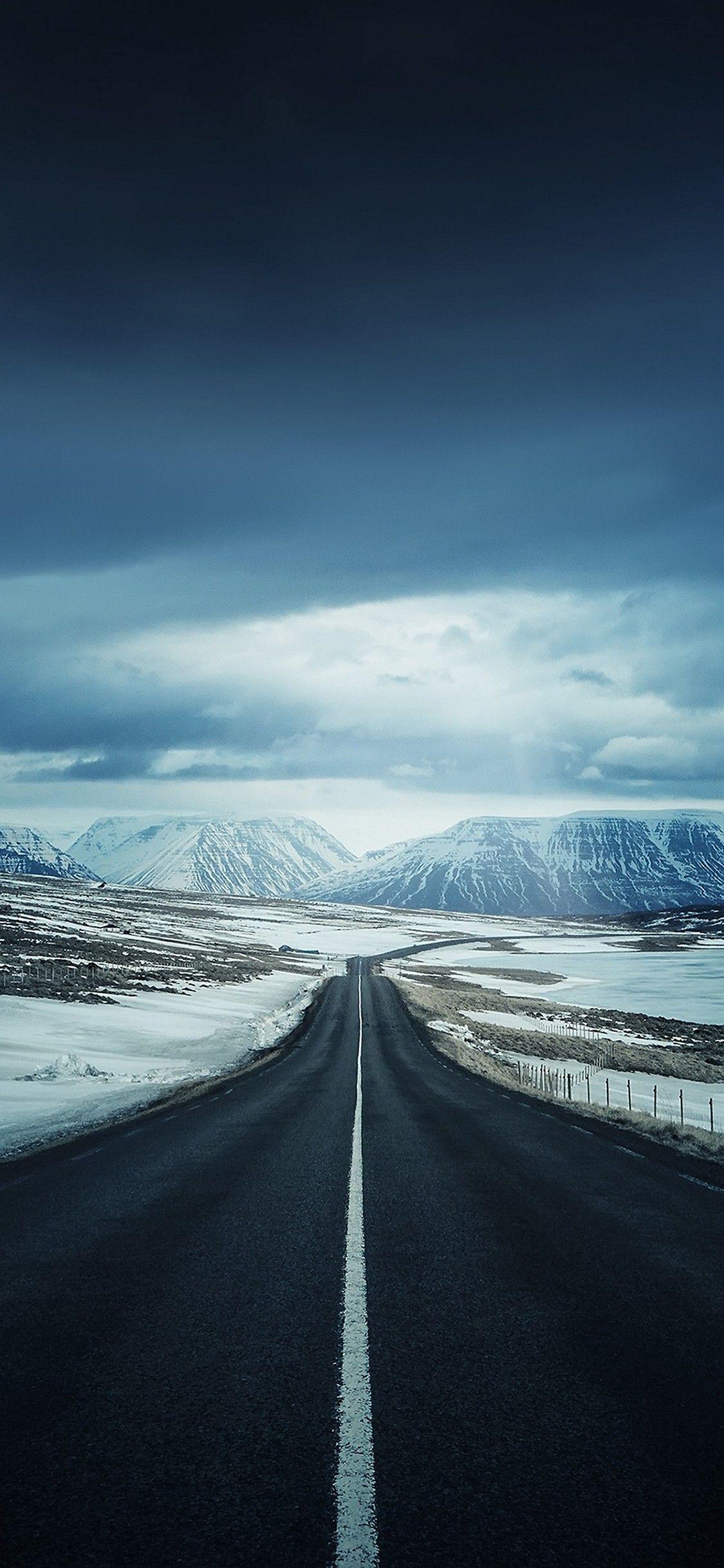 Winter Road Hd Wallpaper 1125x2436 Travel Wallpaper Beautiful Roads Scenery