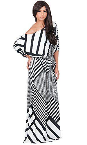 KOH KOH Womens Long One Shoulder Chevron Gown Short Sleeve Summer ...