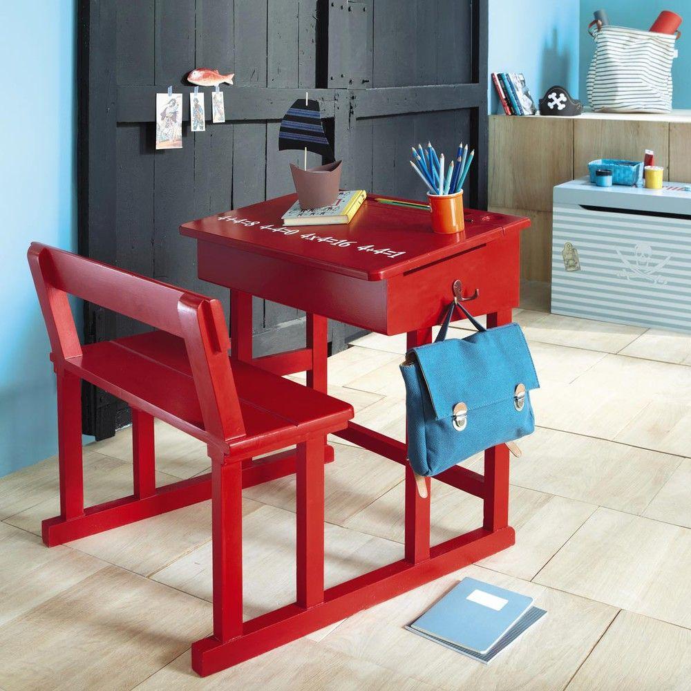 Bureau enfant en bois rouge L Pupitre Deco chambre antoine