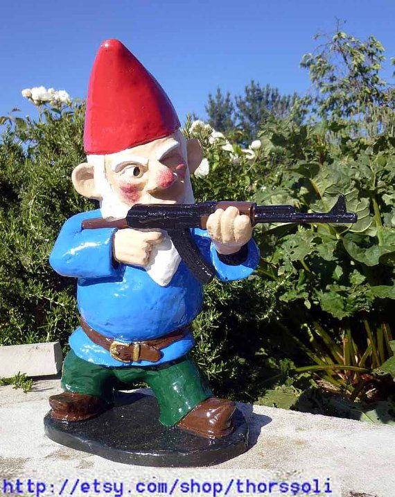 Combat garden gnome in standing position with ak47 by for Combat gnomes for sale