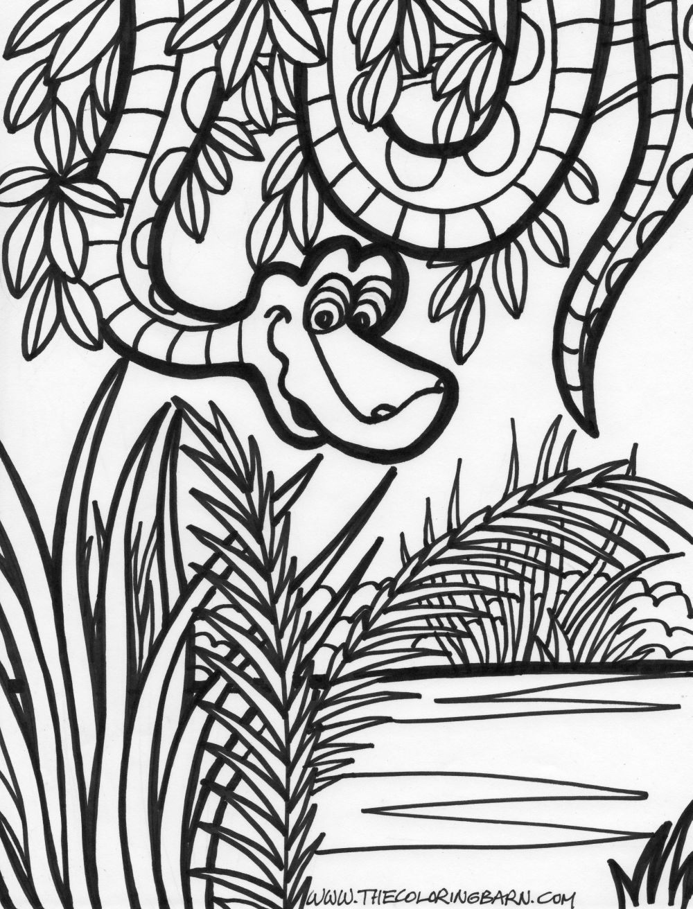 jungle coloring pages | jungle scene coloring page jungle snake ...