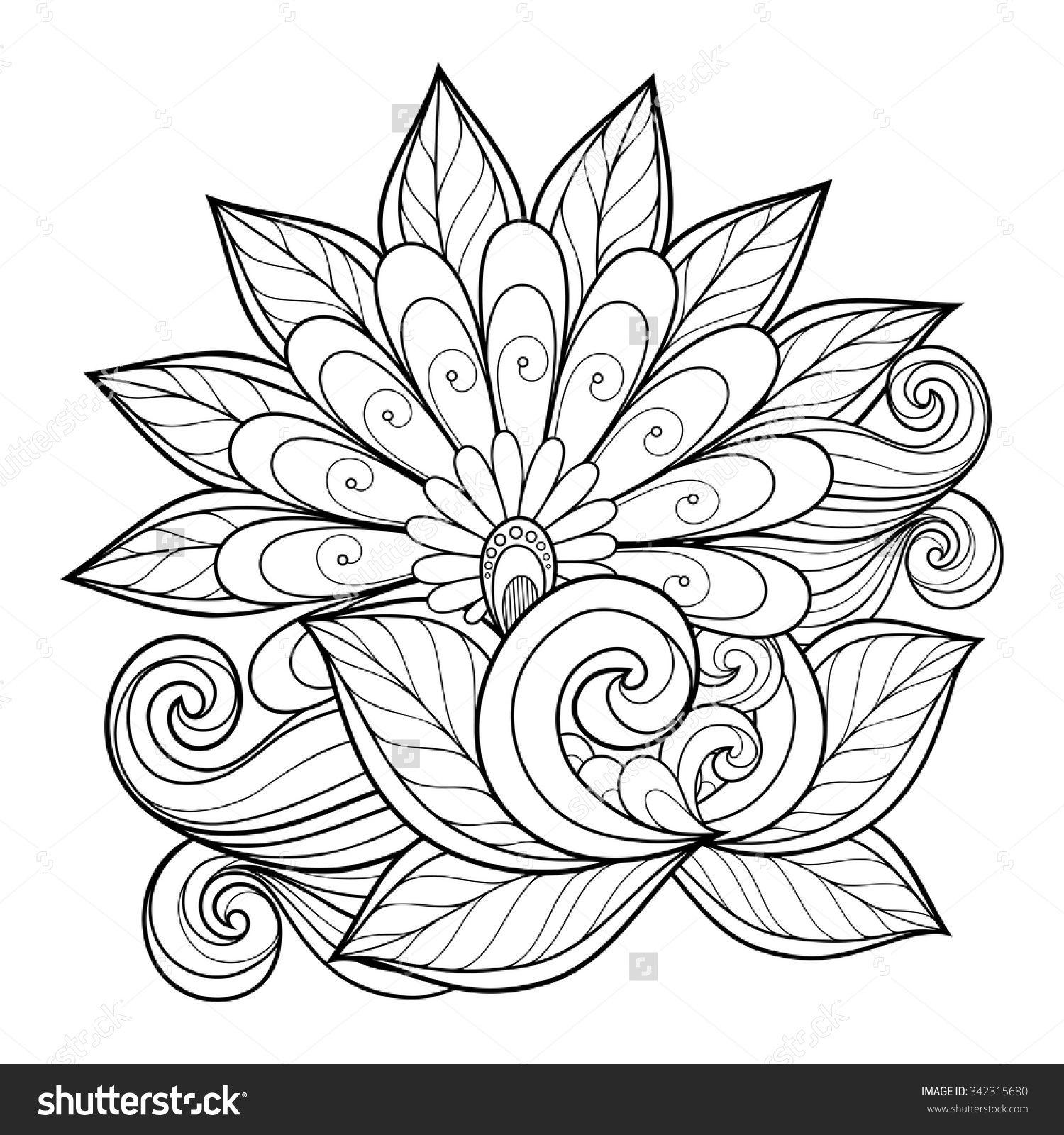 Vector Beautiful Monochrome Contour Flower Floral Design Element Mandala Coloring Pages Mandala Coloring Coloring Pages