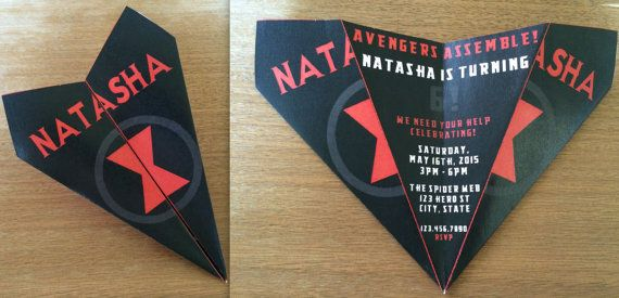 Custom Black Widow/Avengers Theme Paper Airplane Invitation! Personalize Verbiage, Colors & More! Perfect for Birthdays, Announcements, Etc!