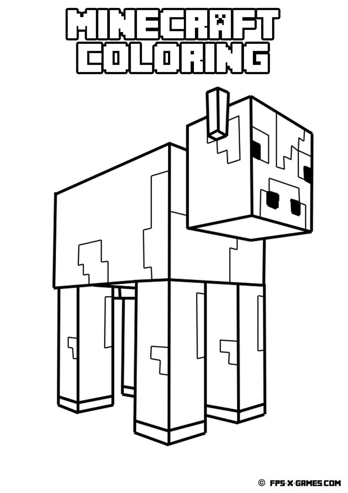 Printable Minecraft Coloring Page  Minecraft coloring pages, Cow