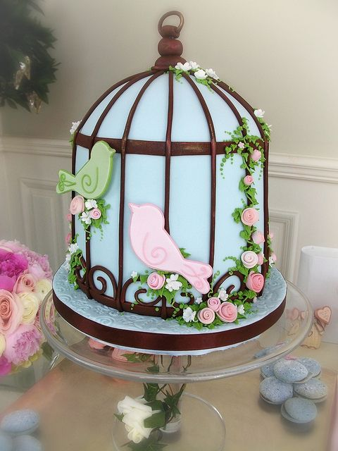 Birdcage cake - very cool idea for a cake design. Perfect for an outdoor event in a garden-like terrace or environment. Tea, oodles of delicate french pastries, and sophisticated but approachable finger foods would be served.