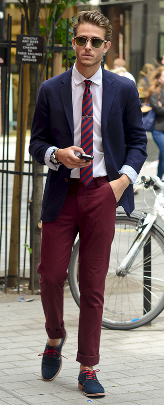 Men's Navy Blazer, White Dress Shirt, Burgundy Chinos, Navy Suede Derby  Shoes