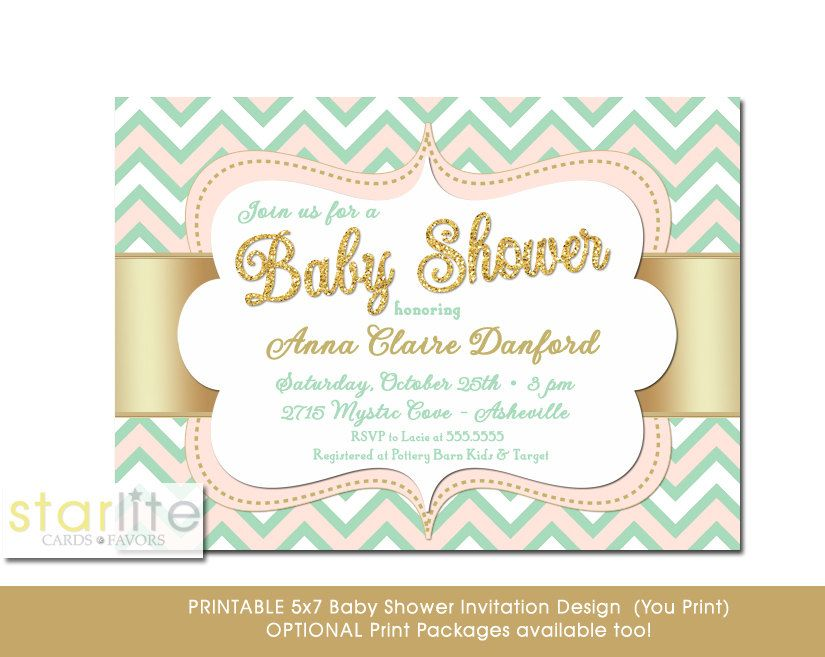 Blush Pink Mint and Gold Baby Shower Invitation with Gold Glitter and Chevron Pattern CHOICE OF DIGITAL FILE (you print option) OR PRINTED, $22