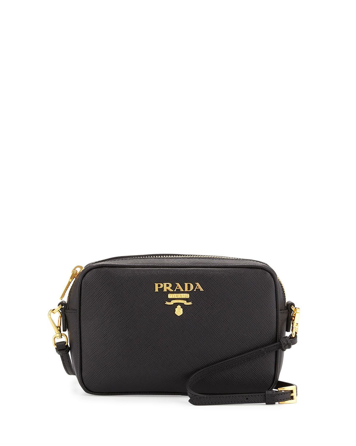 d27d4c16644e53 Prada Small Saffiano Camera Crossbody Bag, Black (Nero), Women's, Size: S