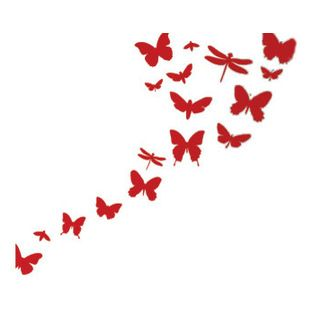 Ferm Living - Butterflies Wall Sticker, Red - Give a blank wall in your home the butterfly effect — and a few dragonflies, too. The delightf...