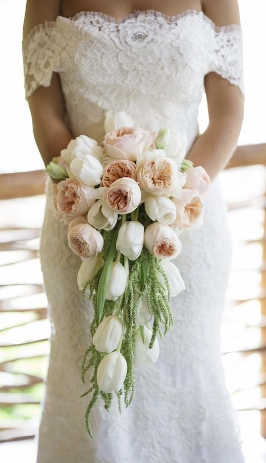 Featured Photographer Stephen Karlisch Via Inside Weddings Chic Blush Peonies And White Tulip Wedding Bouquet