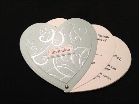 heart shaped wedding invitations | Heart shaped fan style invitation ...