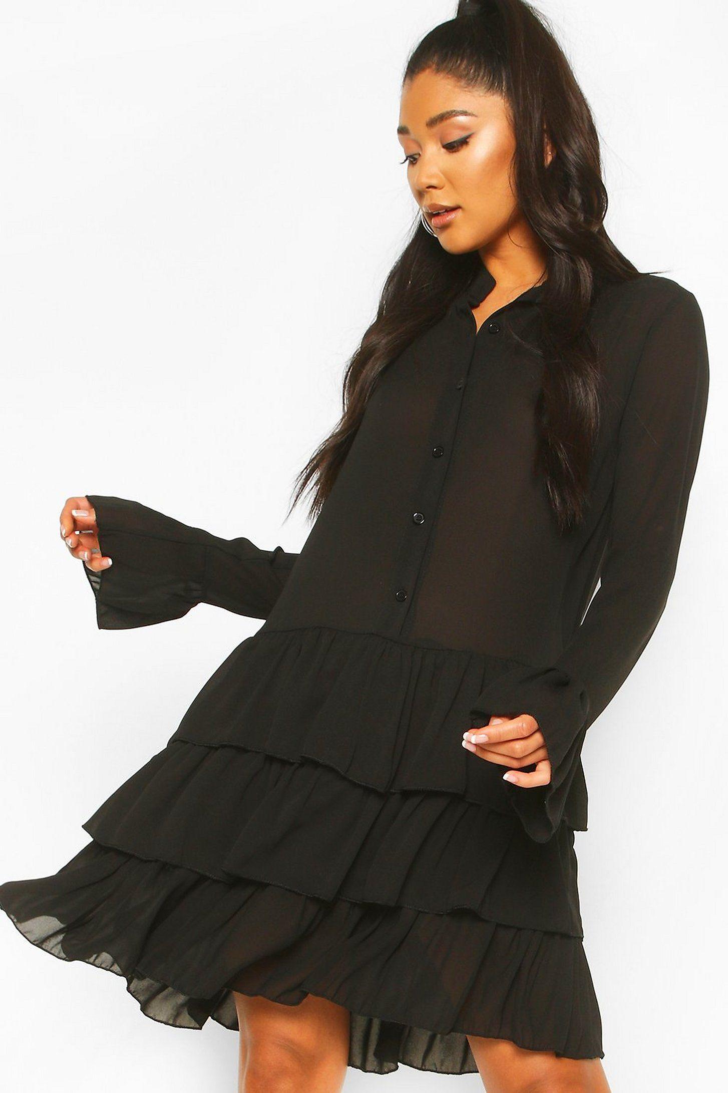 Ruffle Hem Shirt Dress Boohoo Dresses Dress Shirts For Women Ruffle Hem Shirt [ 2181 x 1454 Pixel ]