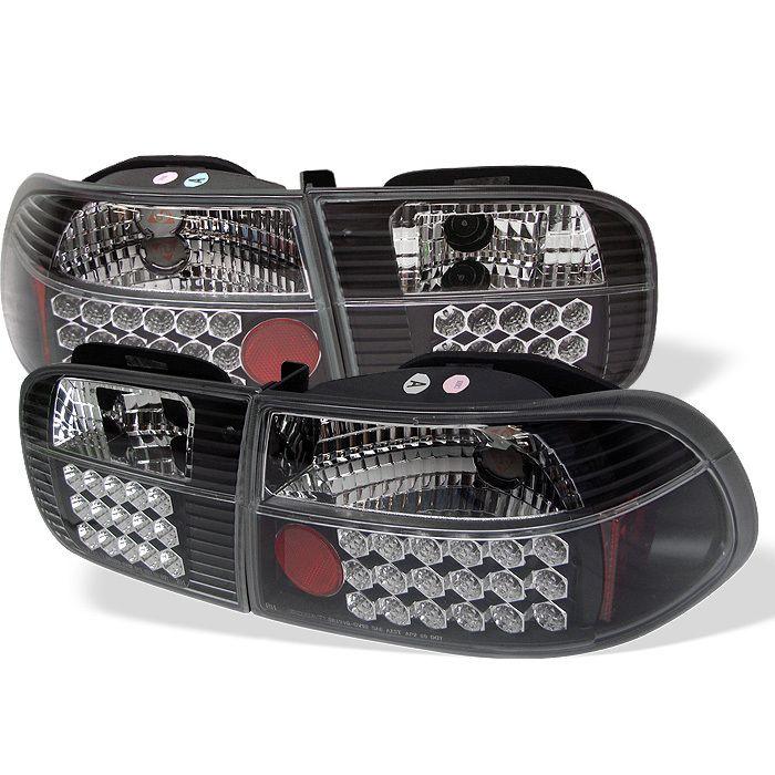 Spyder Auto Honda Civic 92 95 2 4dr Led Tail Lights Black Honda Civic Led Tail Lights Civic