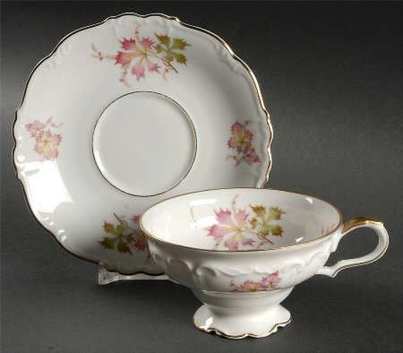 \ Autumn leaves\  by Edelstein Pretty embossed china made in Germany & Autumn leaves\