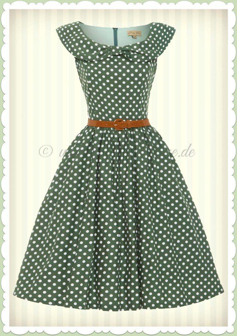 Lindy Bop 18er Jahre Vintage Punkte Petticoat Kleid - Hetty - Grün