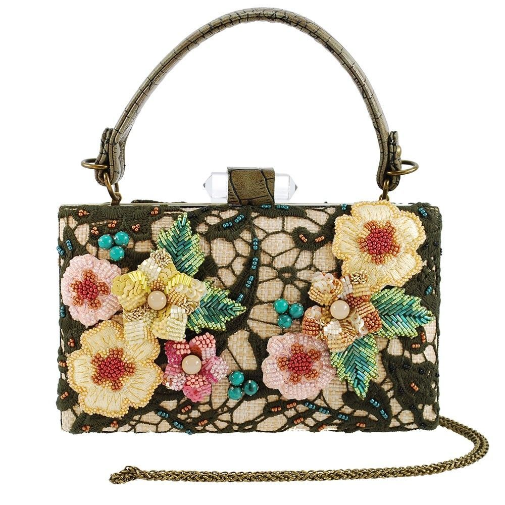 Embellished Flowers And Lace One Of A Kind Top Handle Bag