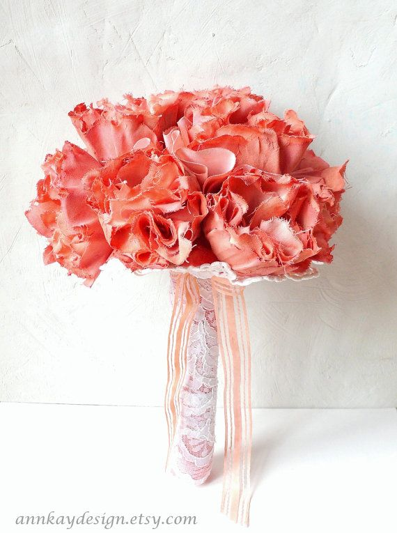Peach Coral Peony Fabric Flower Bridal Bouquet by AnnKayDesign, €129.00
