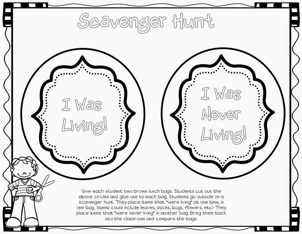 Living & Nonliving Scavenger Hunt- Take kids outside with