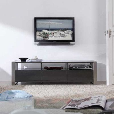 B Modern Stylist 63 Tv Stand Gray High Gloss And Brushed