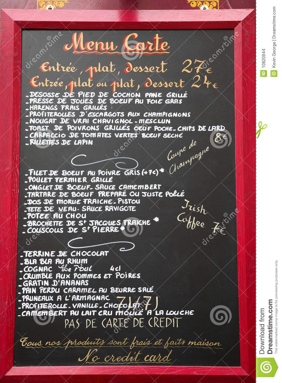 French Language Menu Paris France  Download From Over