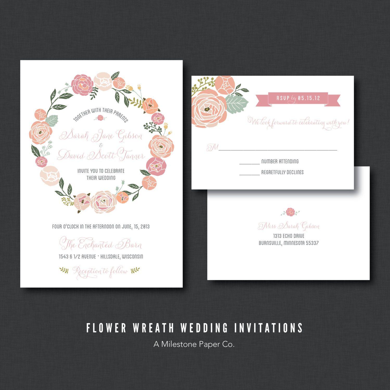 Floral wreath wedding invitation printed printable diy