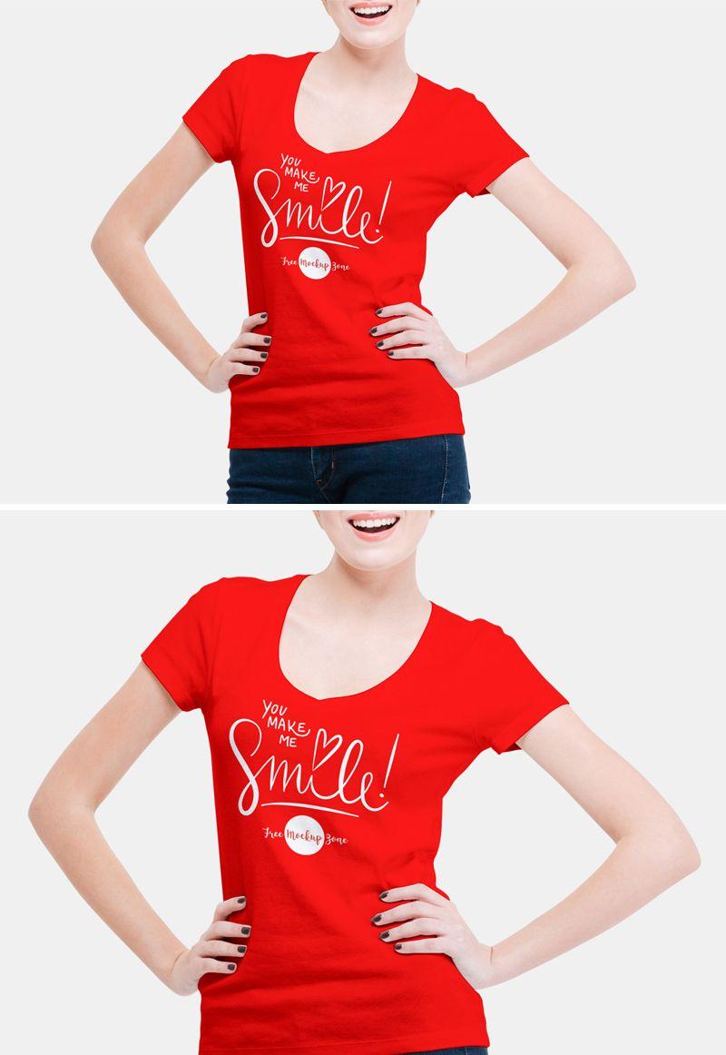 Download Free V Shape Girl T Shirt Mockup Psd For Fashion 2018 1 Girls Tshirts Shirt Mockup V Shape