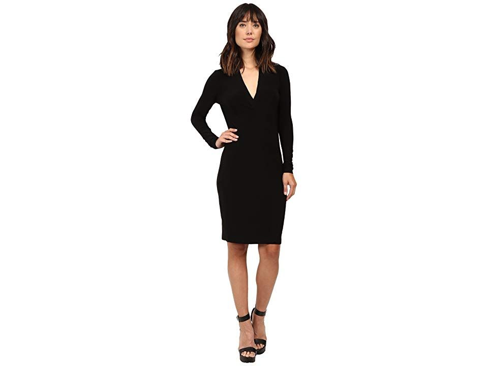 Norma Kamali Womens Long Sleeve Modern Side Drape Dress to Knee Solid