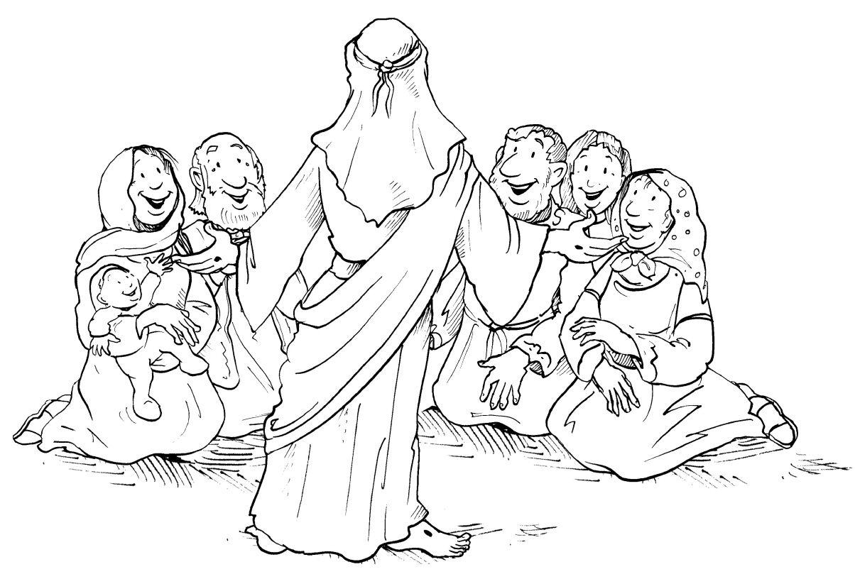 Jünger Jesus mit Frauen Ausmalbilder Malvorlagen Jesus