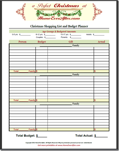 Christmas Shopping List Planner Budget Spreadsheet  Printable and