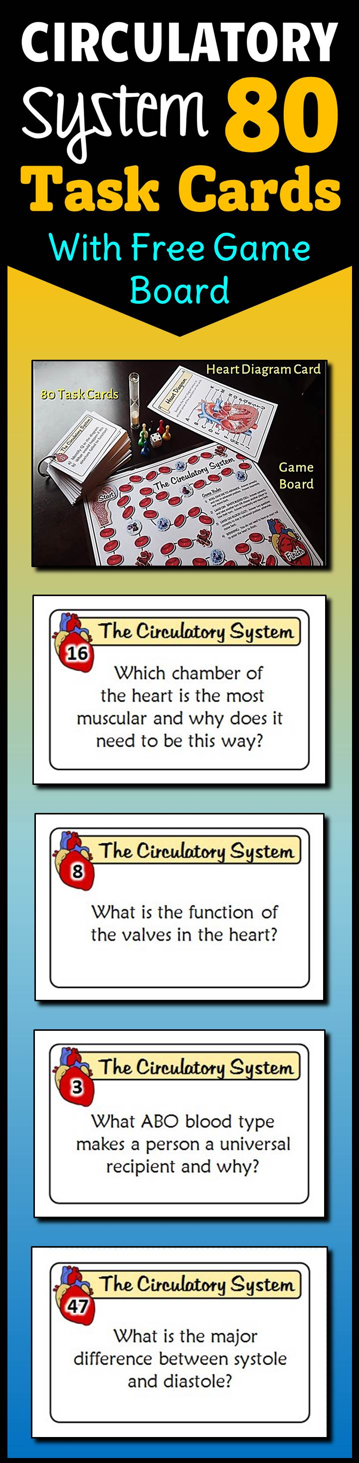 Circulatory System - Task Cards with Game Board {Editable Template ...