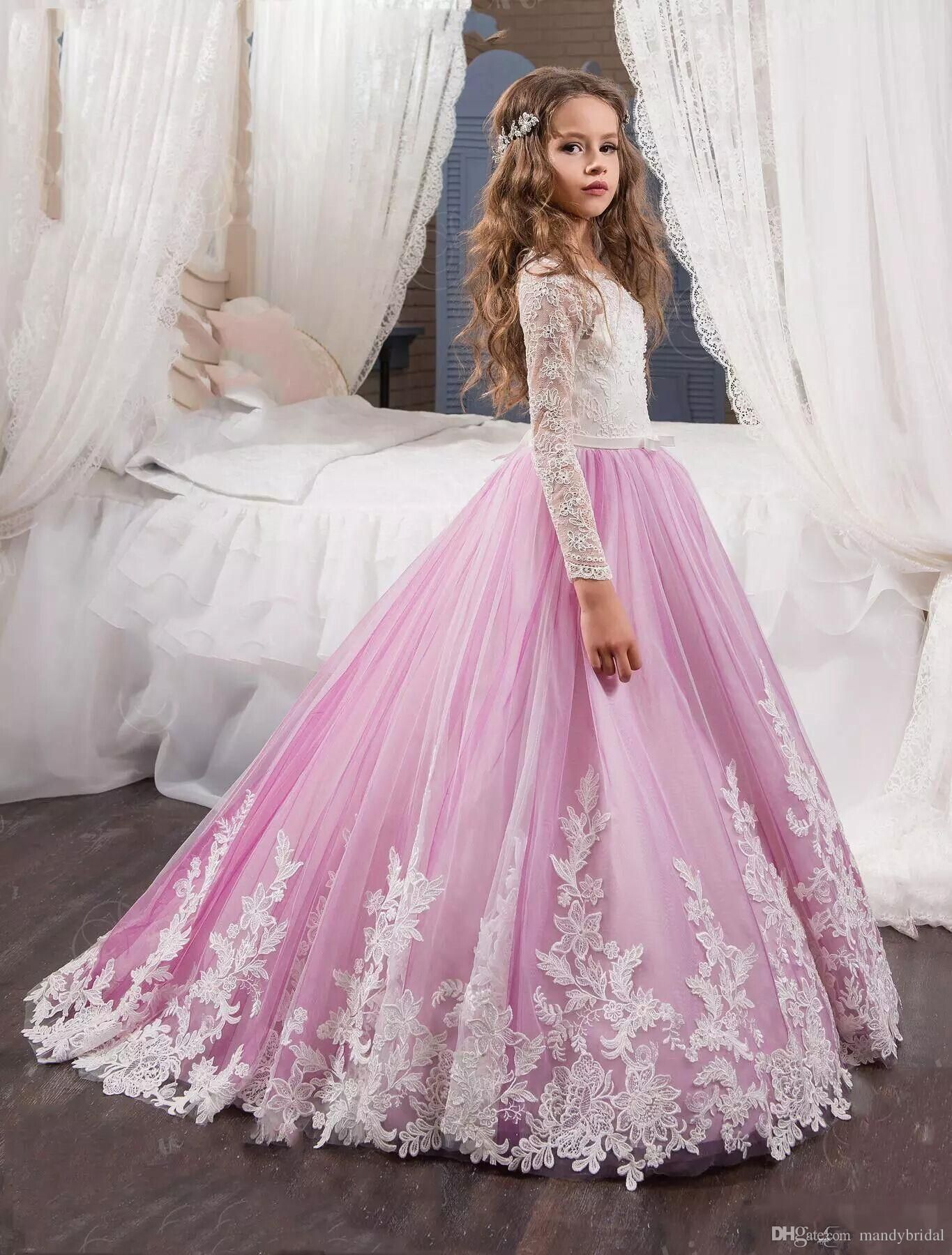 2018 New Flower Girls Dresses For Weddings Long Sleeves Appliques ...