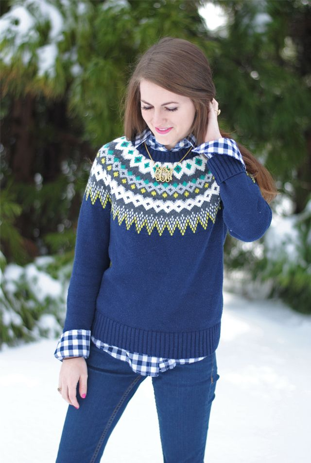 4197881f9 navy gingham button down + fair isle sweater