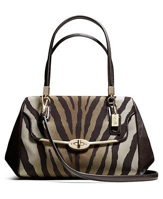 COACH MADISON SMALL MADELINE EAST WEST SATCHEL IN ZEBRA PRINT FABRIC -  Coach Handbags - 928f45833756b
