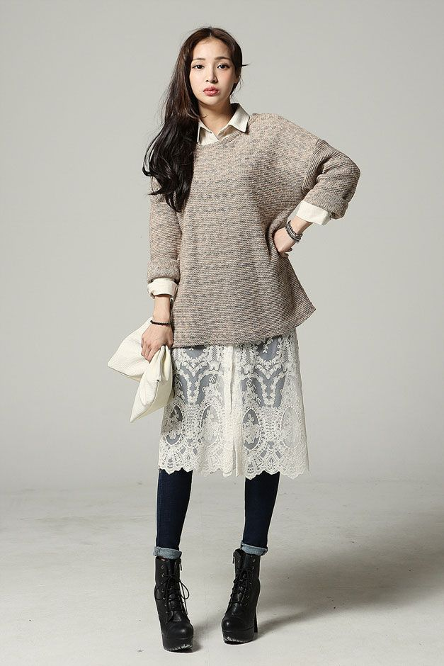 Mixed Color Loose Knit Top