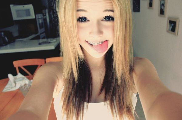 Young teen girls with braces tongue interesting. Tell