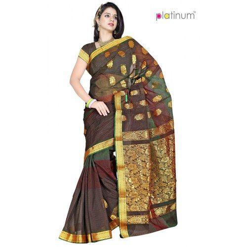 7b6cf8c4d8 Dark Pastel Brown Designer Zari Saree PS296 - Online Shopping for Silk  Sarees by Platinum