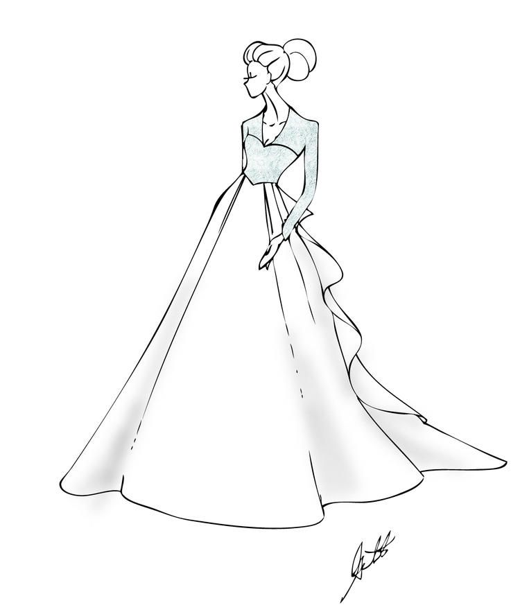Girl Wedding Dress Coloring Pages Wedding Dresses For Girls Illustration Fashion Design Gown Drawing