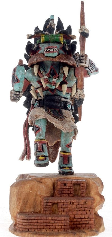 Hopi Carved 65 Ahote Kachina Doll Sculpture By Milton Howard