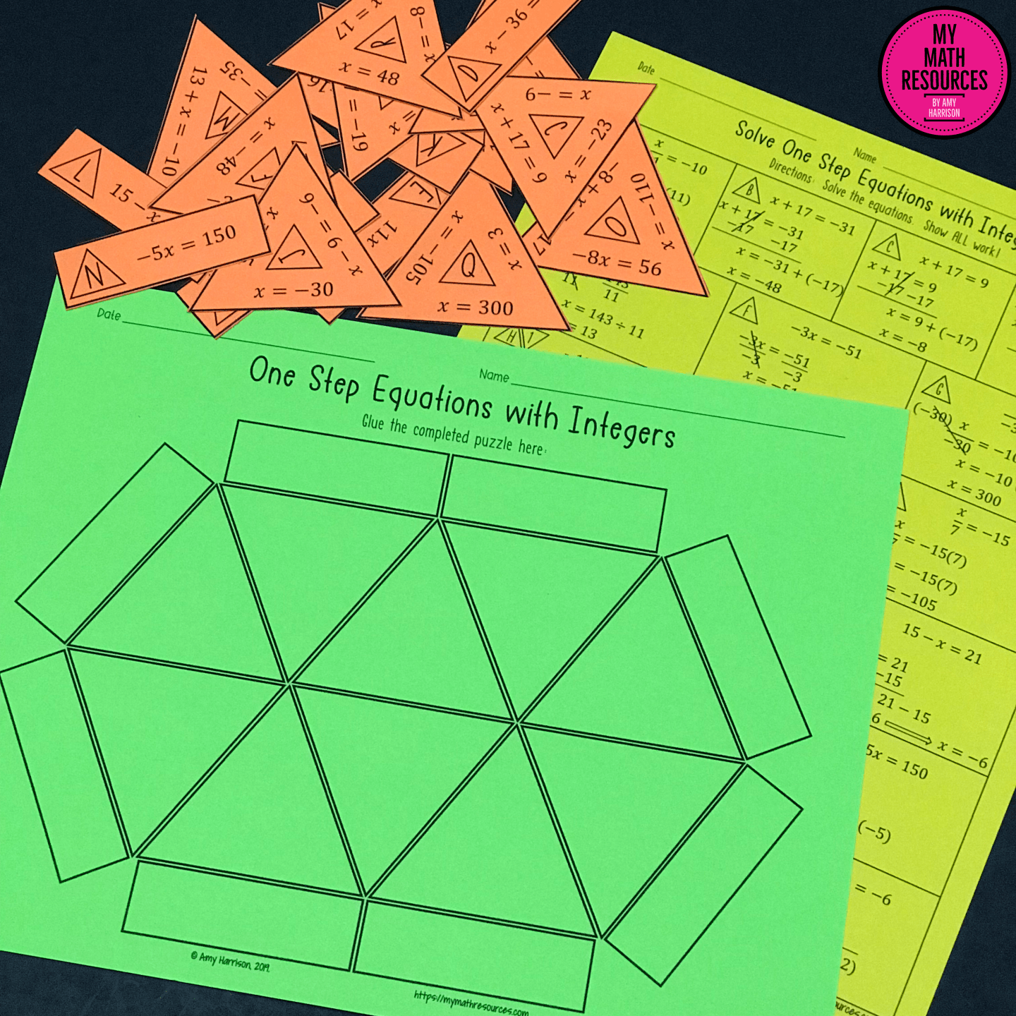 One Step Equations With Integers Triangle Puzzle