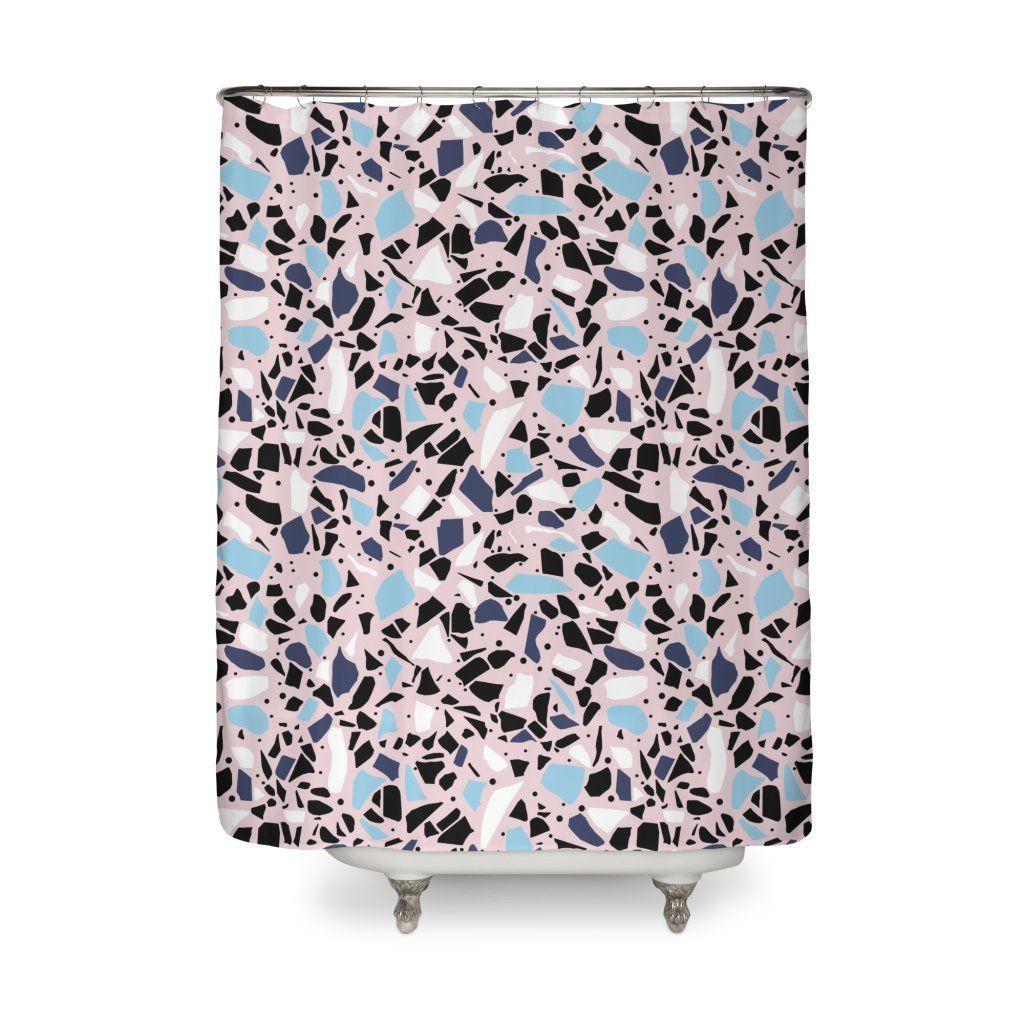 Terrazzo Blue Blush Pink Shower Curtain 59 Blushinteriors