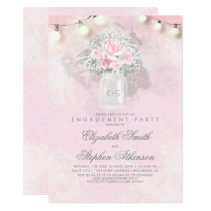 baby s breath and pink roses engagement party invitation baby