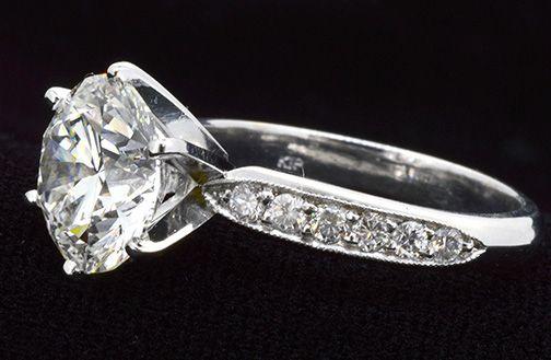 Ring Solitaire Round Brilliant Diamond 4.01ct., Clarity VVS-2 Color F (EGL…