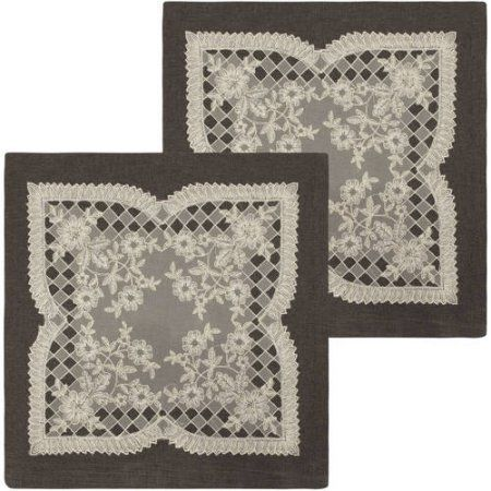 Caisey 18 inch x 18 inch Lace and Embroidery Applique Pillow Covers, Set of 2, Black