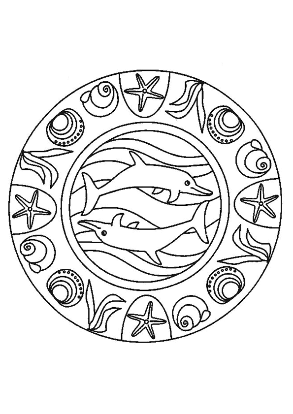 Kleurplaten Van Dolfijnen Mandala.Dolfijnen Mandala Kleurplaten Kleurplaten En Kleurboek