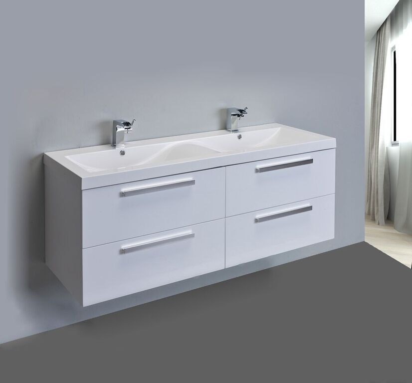 Modern 57 Inch White Wall Mounted Bathroom Vanity Set With Integrated White  Acrylic Double Sink