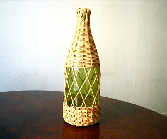 Vintage French Demijohn Green Glass And Wicker French Wine Bottle Glass Bottle Collectible Glass Fre French Wine Glass Collection French Vintage