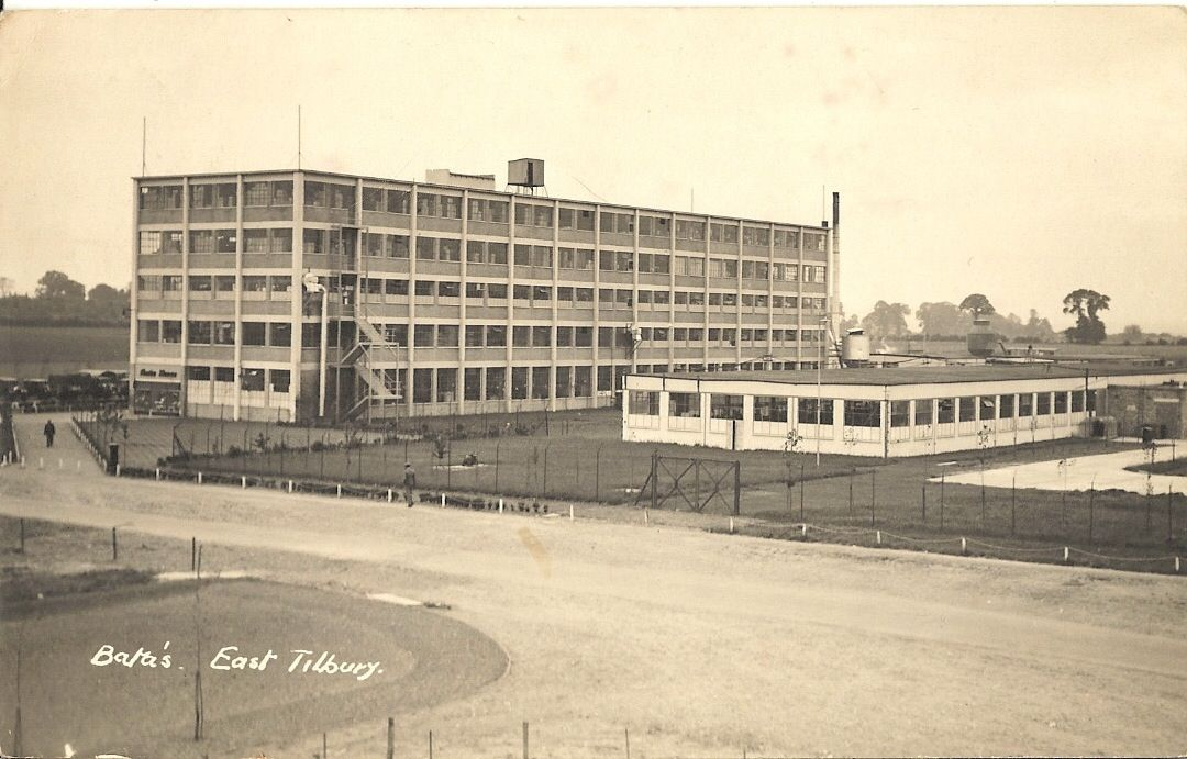 Bata Factory East Tilbury early view of Building 12 with original entrance, newly built Leather Factory Building 13 and the second East Tilbury Shoe Shop 1934, photo courtesy Field Family Album